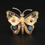 18K Yellow Gold Enamel Butterfly Pin