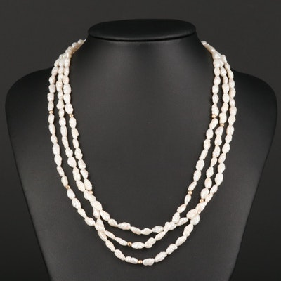 14K Yellow Gold Cultured Pearl Three Strand Necklace
