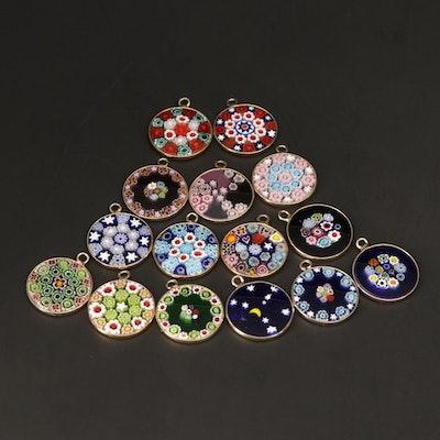 Sterling Silver Millefiori Glass Disk Pendants