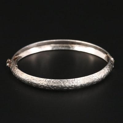 Sterling Silver Textured, Hinged, Bangle Bracelet