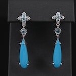 Sterling Silver Turquoise and Topaz Dangle Earrings