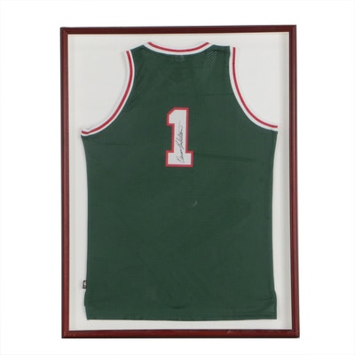 Framed Oscar Robertson Signed Replica Milwaukee Bucks Jersey