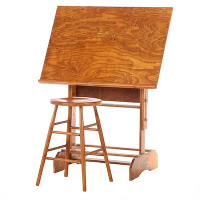 Vintage Oak Adjustable Drafting Easel with Stool