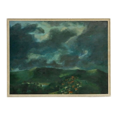 Impressionist Style Landscape Oil Painting, Mid-20th Century
