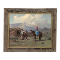 Charles Damrow Oil Painting of Native Americans in Western Landscape