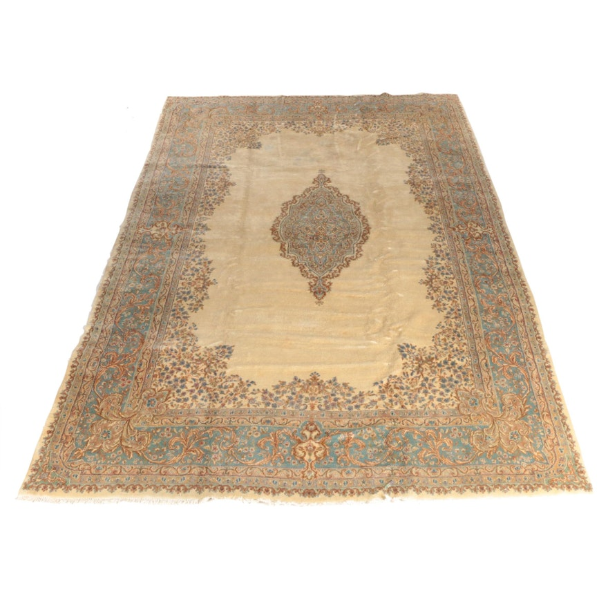 10'3 x 16'8 Hand-Knotted Persian Kerman Wool Room Sized Rug