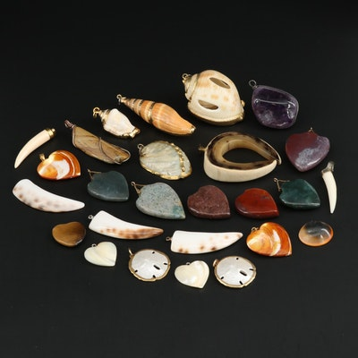 Carved Mixed Gemstone Pendants Including Shell, Horn and Jasper