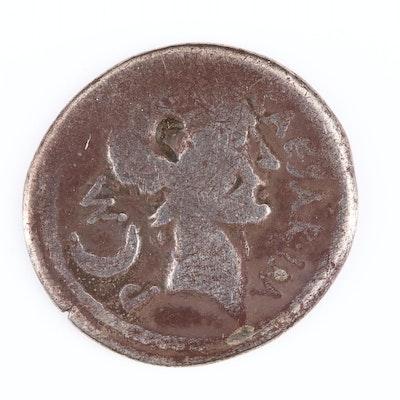 Ancient Roman Republic AR Denarius of Julius Caesar, Jan-Feb 44 B.C.