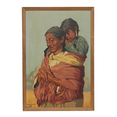 Oil Painting of Native American Mother and Child