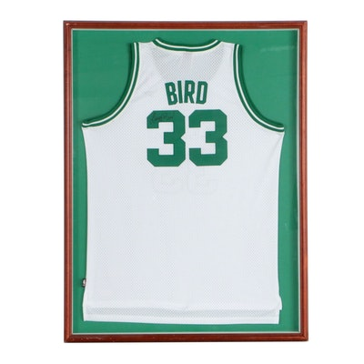 Framed Larry Bird Signed Replica Celtics Jersey
