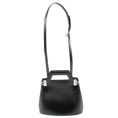 Salvatore Ferragamo Black Leather Top Handle Trapezoid Crossbody Bag