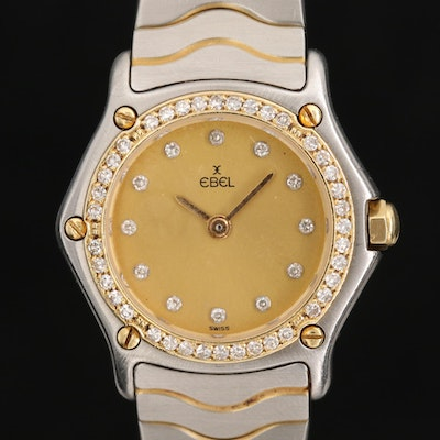 Ebel Sport Wave 18K Gold and Stainless Steel Diamond Wristwatch