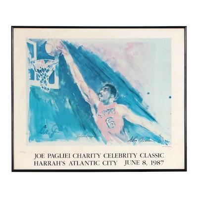 Julius Erving Signed LeRoy Nieman Philadelphia 76ers Basketball Print, 1987