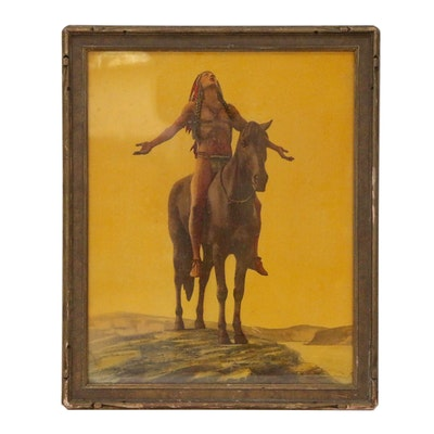 "Hand-Tinted Collotype after Cyrus E. Dallin ""Appeal to the Great Spirit"""
