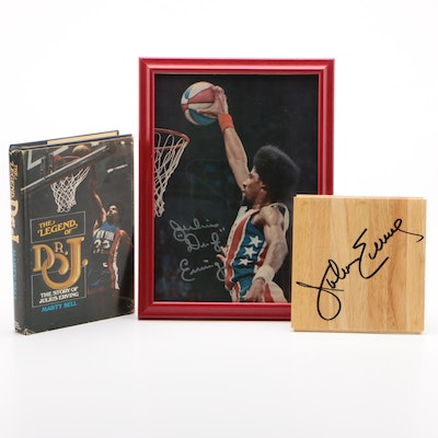 """Julius Erving """"Dr. J"""" Signed Items with the Book """"The Legend of Dr. J"""""""