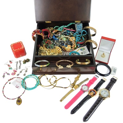 Assorted Jewelry and Watches with Bombay Company Wood Lap Desk