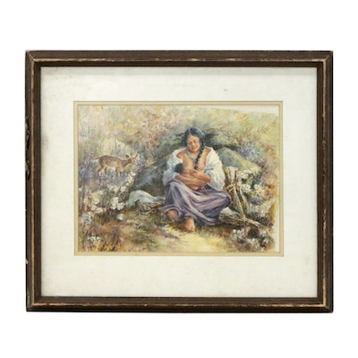 Native American Mother and Child Watercolor Painting