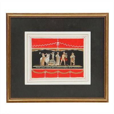 "G. Colombo Gouache Painting ""The Sacrifice of Apollo,"" 1999"