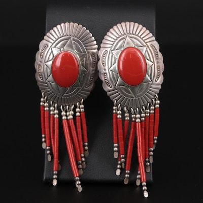 Southwestern Style Sterling Silver Chandelier Earrings