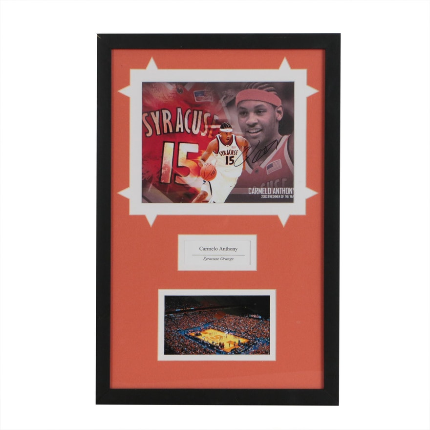 Carmelo Anthony Signed Syracuse University NCAA Framed Collegiate Display, COA