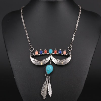 Southwestern Style Sterling Silver Turquoise and Gemstone Necklace