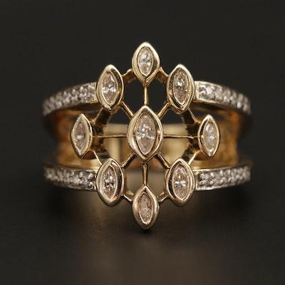 14K Yellow Gold Diamond Openwork Ring
