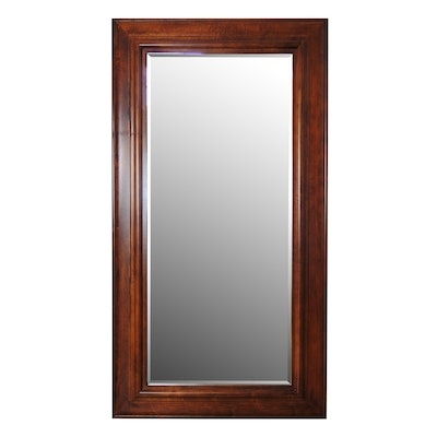 Large Full-Length Wooden Rectangular Wall Mirror with Beveled Glass