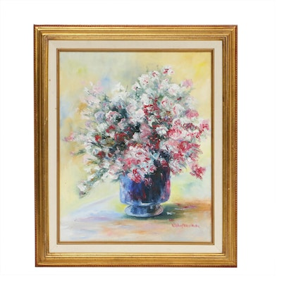 Kathryn LaBoyteaux-Roller Floral Still Life Oil Painting, Late 20th Century