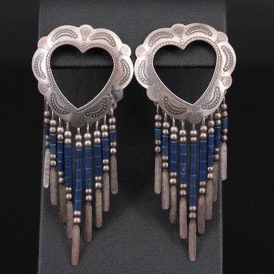 Quoc Turquoise Inc. Southwestern Style Sterling Silver Chandelier Heart Earrings