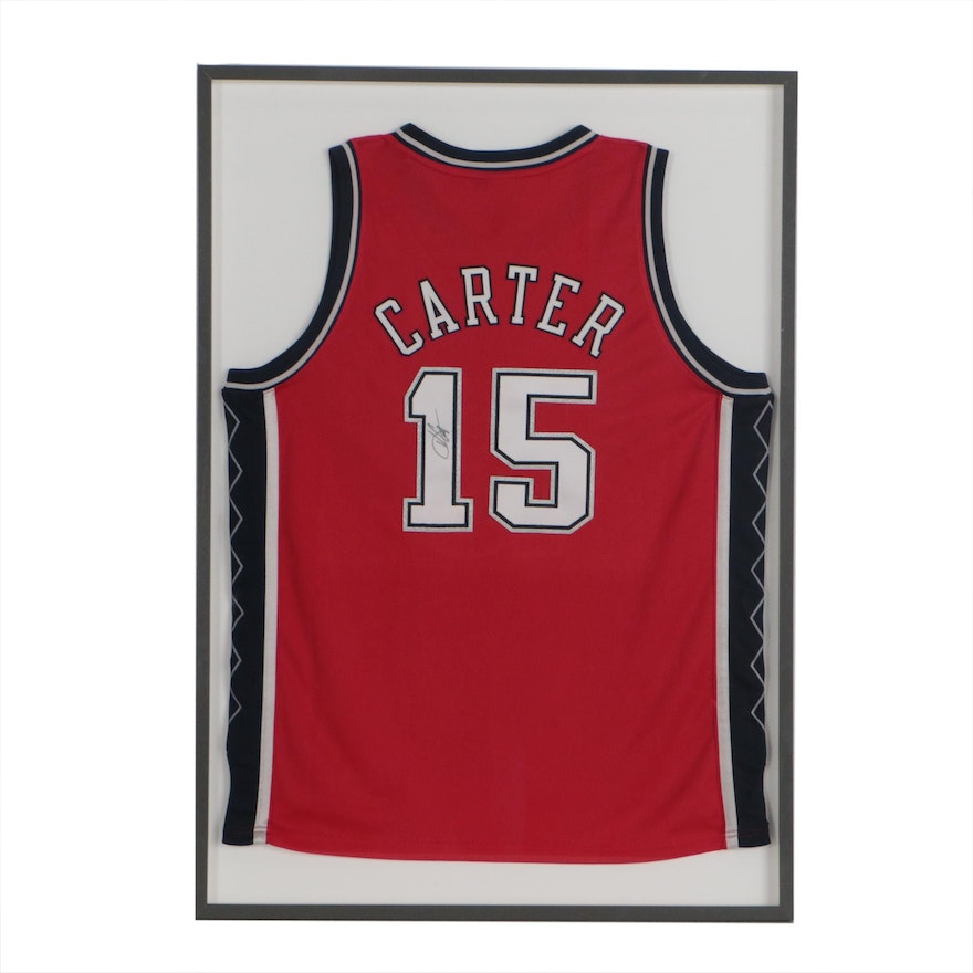 Vince Carter Signed Adidas Swingman Framed Jersey, COA From the Nets