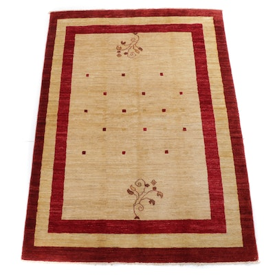 5'8 x 8'5 Hand-Knotted Pakistani Persian Gabbeh Rug, 2000s