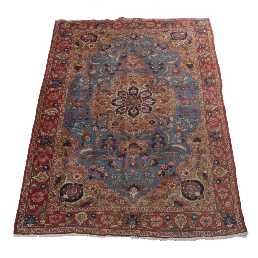 7'0 x 11'1 Hand-Knotted Persian Tabriz Rug, 1930s
