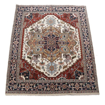 7'10 x 10'0 Hand-Knotted Indo-Persian Heriz Serapi Rug, 2010s