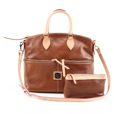 Dooney & Bourke Brown Leather Pocket Convertible Satchel with Cosmetic Case