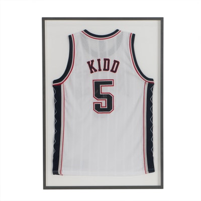 Jason Kidd Signed New York Nets NBA Basketball Jersey in Case