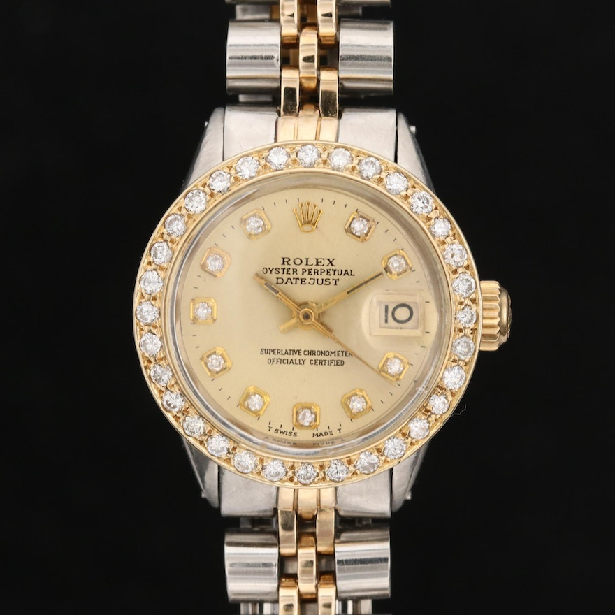 Rolex Datejust Diamond Wristwatch with Stainless Steel and 14K Gold, 1969