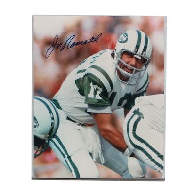 Large Joe Namath Signed New York Jets Photo Print, COA