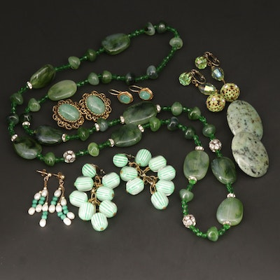 Vintage Style Earrings and Beaded Necklace With Aventurine, Glass and Malachite