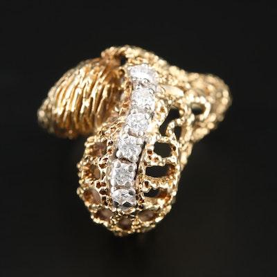 14K Yellow Gold Diamond Biomorphic Ring