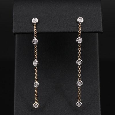 18K Yellow Gold Diamond Dangle Earrings With 14K Gold Findings