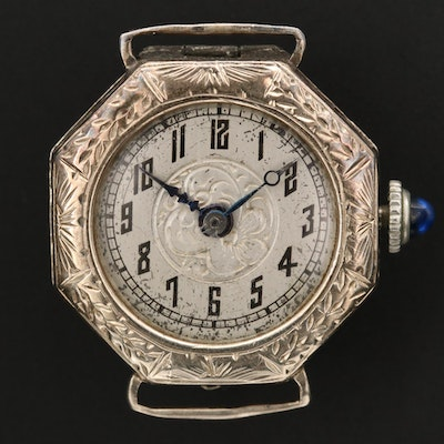 Antique Esef 14K White Gold Stem Wind Wristwatch