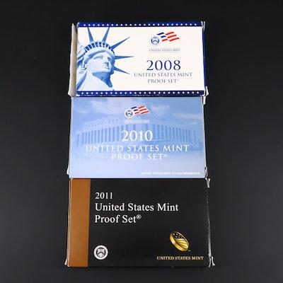 Three U.S. Mint Proof Sets, 2008 to 2011