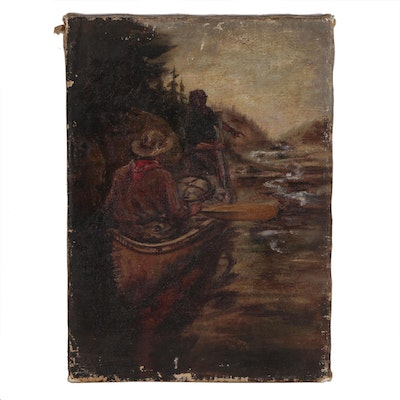 Western Genre Oil Painting, Mid 20th Century