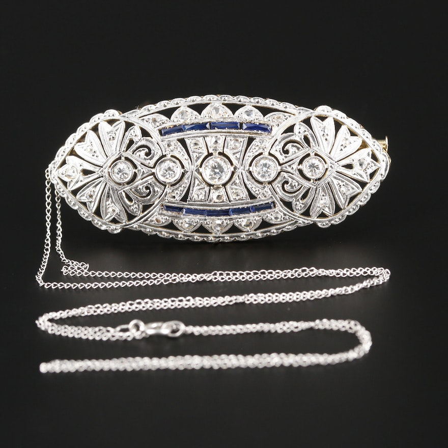 Art Deco Style 14K and Platinum Diamond and Sapphire Brooch on Necklace