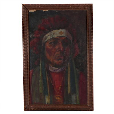 Portrait Oil Painting of Native American Chief, Mid 20th Century
