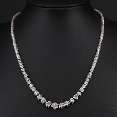 14K White Gold Graduating 9.69 CTW Diamond Necklace