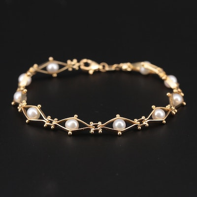 14K Yellow Gold Cultured Pearl Hinged Link Bracelet
