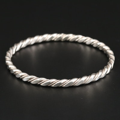 Sterling Silver Forged Wire Bangle Bracelet