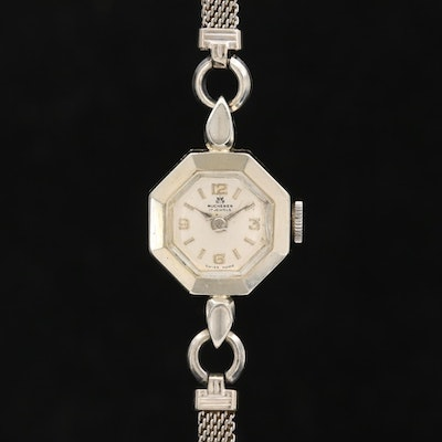 Vintage Bucherer 18K White Gold Stem Wind Wristwatch