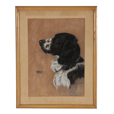 "Bill McPherson Pastel Drawing of Dog ""Stan"""